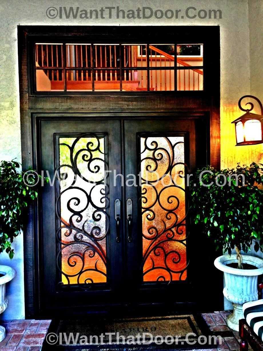 Wrought Tuscany Iron Door With Transom With Images Wrought