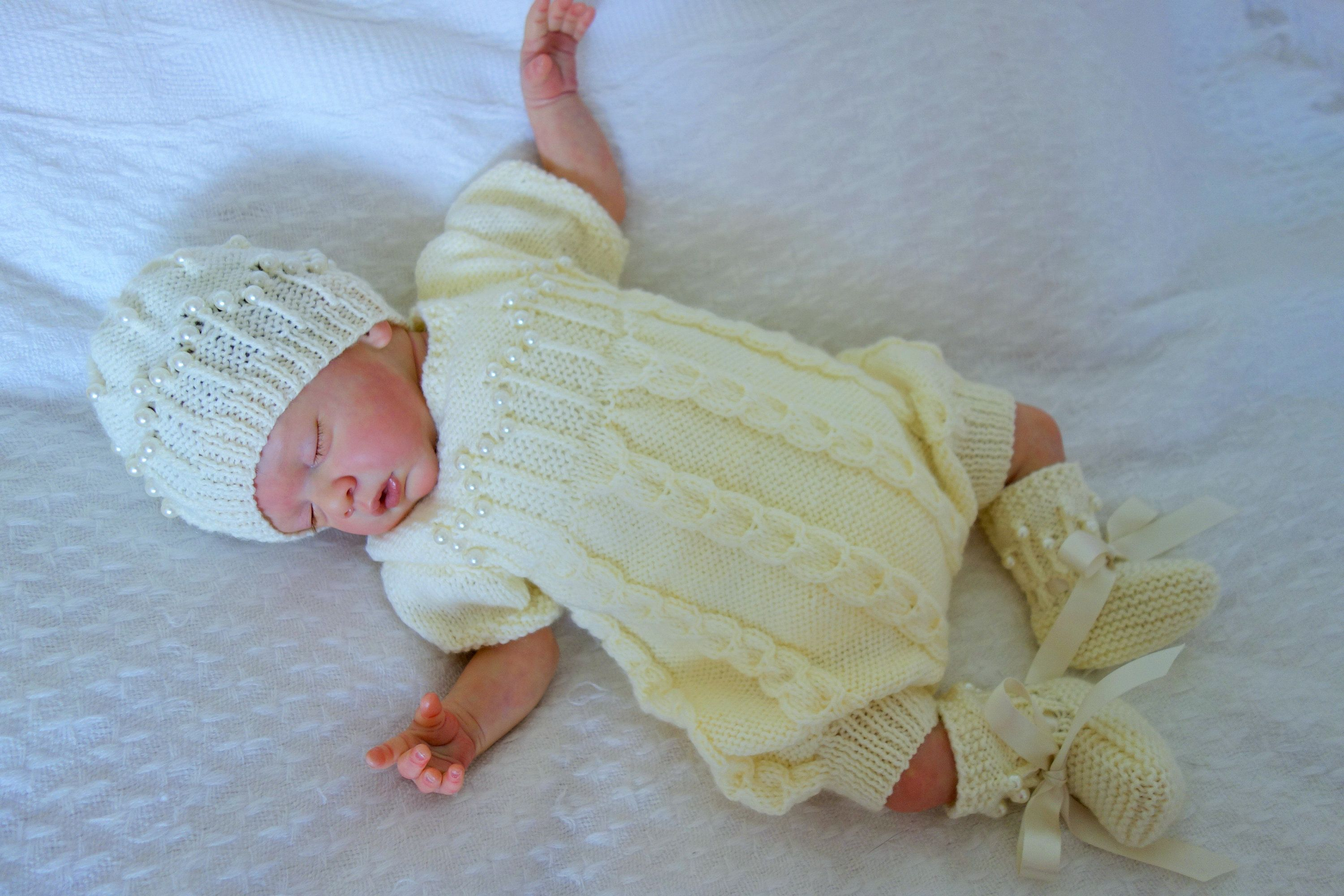 18b09ae19 Hand knitted romper christening/baptism/naming ceremony set with hat and  bootees in cream to fit new born or reborn baby approx 20