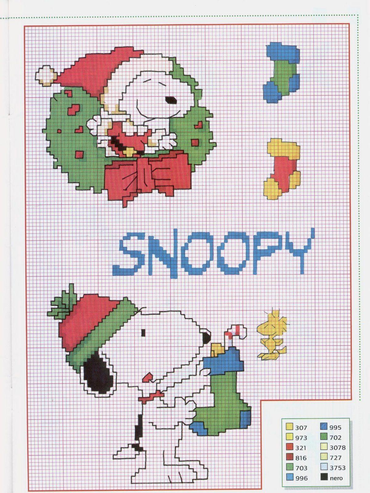 Visto en: http://fiestasnavidad.blogspot.com/2009/11/patrones-navidad-punto-de-cruz-snoopy.html