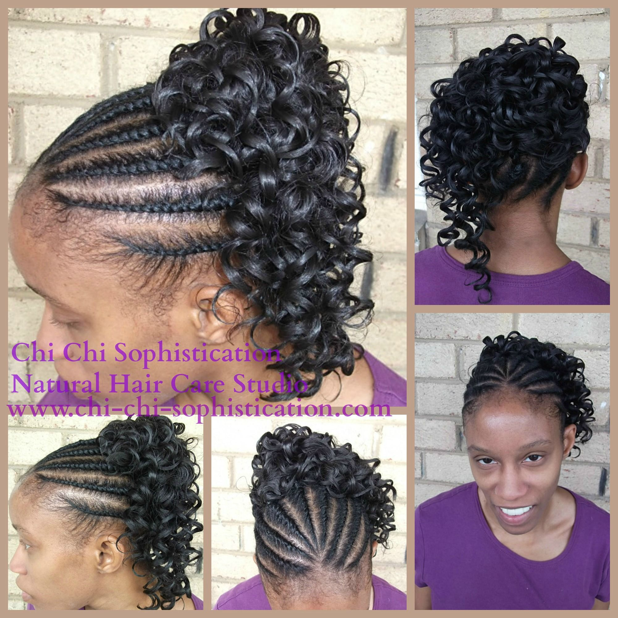 chi hair styles flat twist with synthetic ponytail children 6631