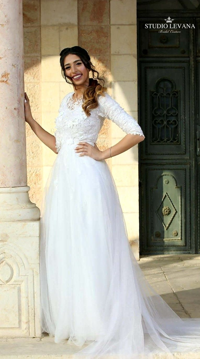 High neck wedding dresses  Modest wedding gown with  sleeves high neck and tulle skirt from