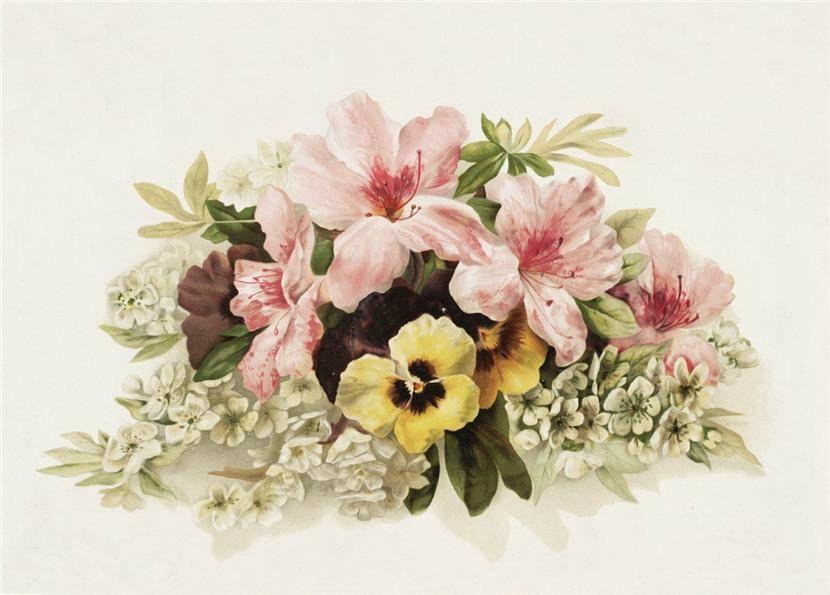 Декупаж винтажные картинки с цветами, днем рождения для