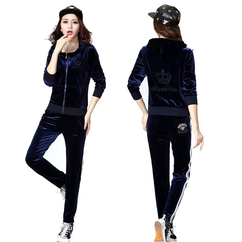 Women 2Pcs Velvet Zipped Tracksuit Velour Lounge Wear Sweatshirt Pant Jogger Set