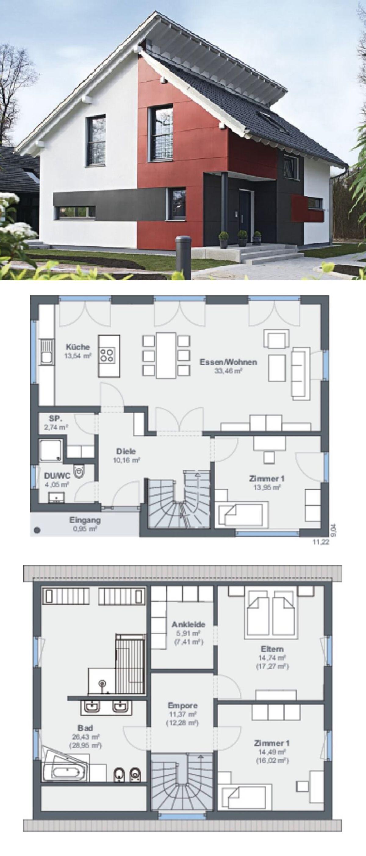 versetztes pultdach haus architektur modern mit putz fassade rot wei einfamilienhaus bauen. Black Bedroom Furniture Sets. Home Design Ideas