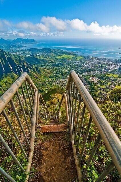 The Haiku Stairs, Oahu, Hawaii Under Reflections because you