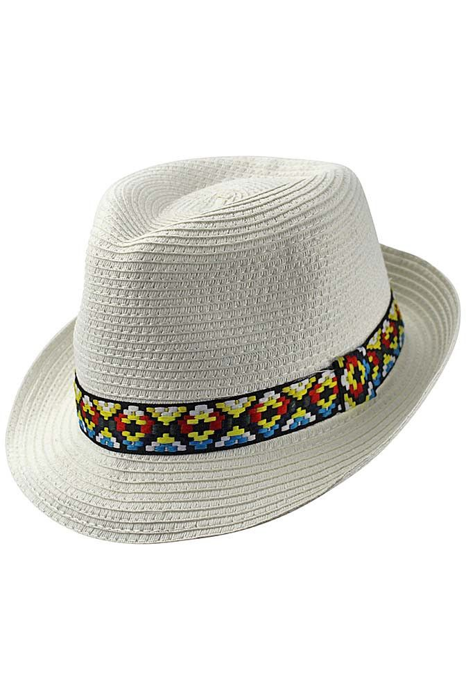 609ff24b6d3b0 Woven Straw Fedora Hat With Aztec Band in 2019