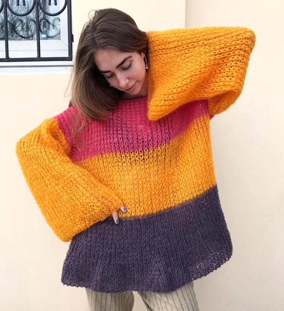 Striped loose mohair sweater, beautiful unique sweater