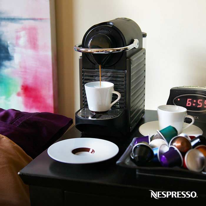 Nespresso Pixie Titanium   Pixie is one of our fastest single cup coffee makers with only a 25 second heat up time. This machine has a range of innovative, advanced features in a surprisingly small machine.