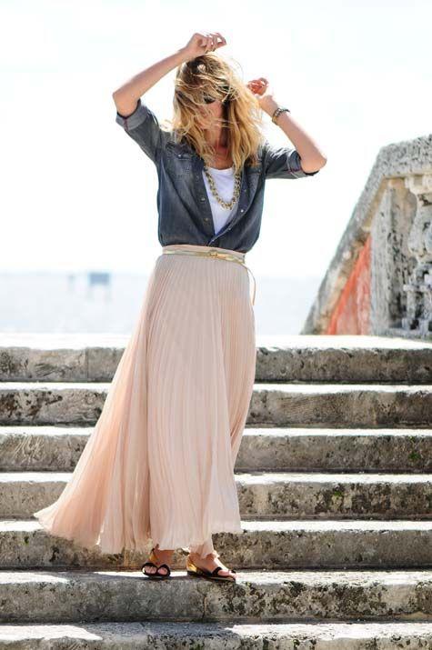 delicate long silky skirt + jean