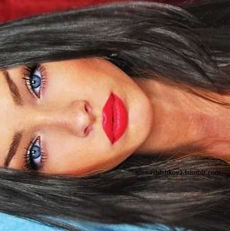 Dark Hair Red Lips Blue Eyes Love This Look With Images