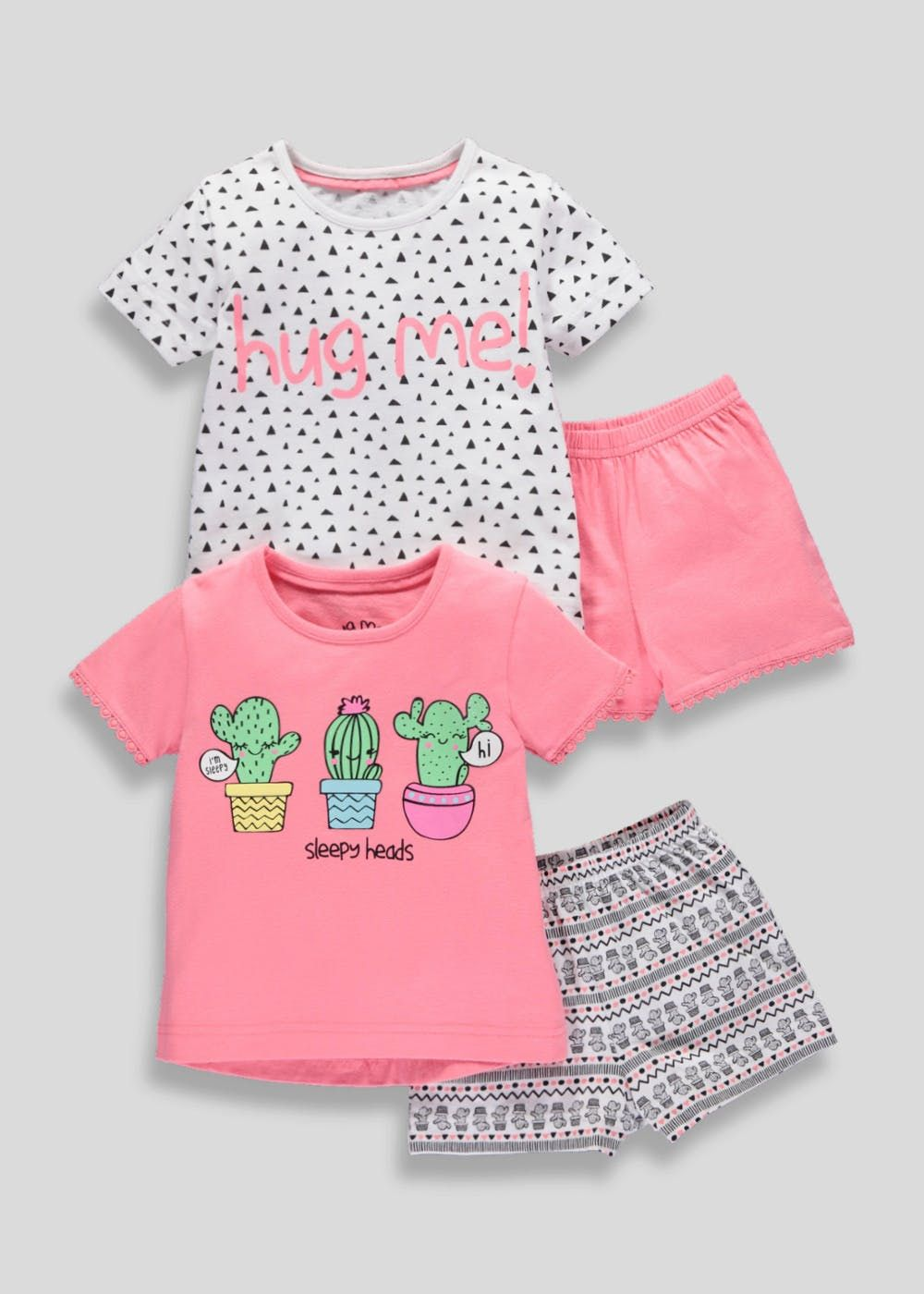 large assortment factory outlets limited price Girls 2 Pack Cactus Short Pyjamas (9mths-5yrs) – Coral ...