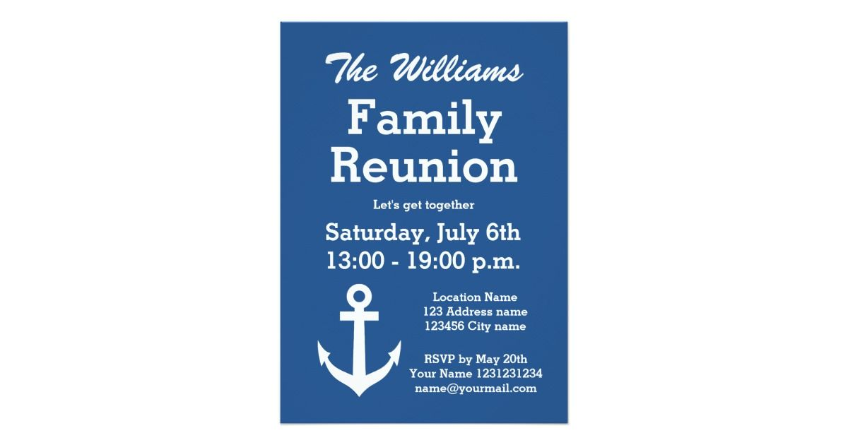 Nautical anchor family reunion party invitations | Zazzle.com ...
