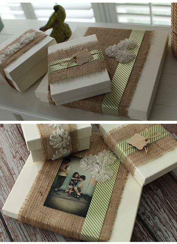 Packaging with burlap wrap.