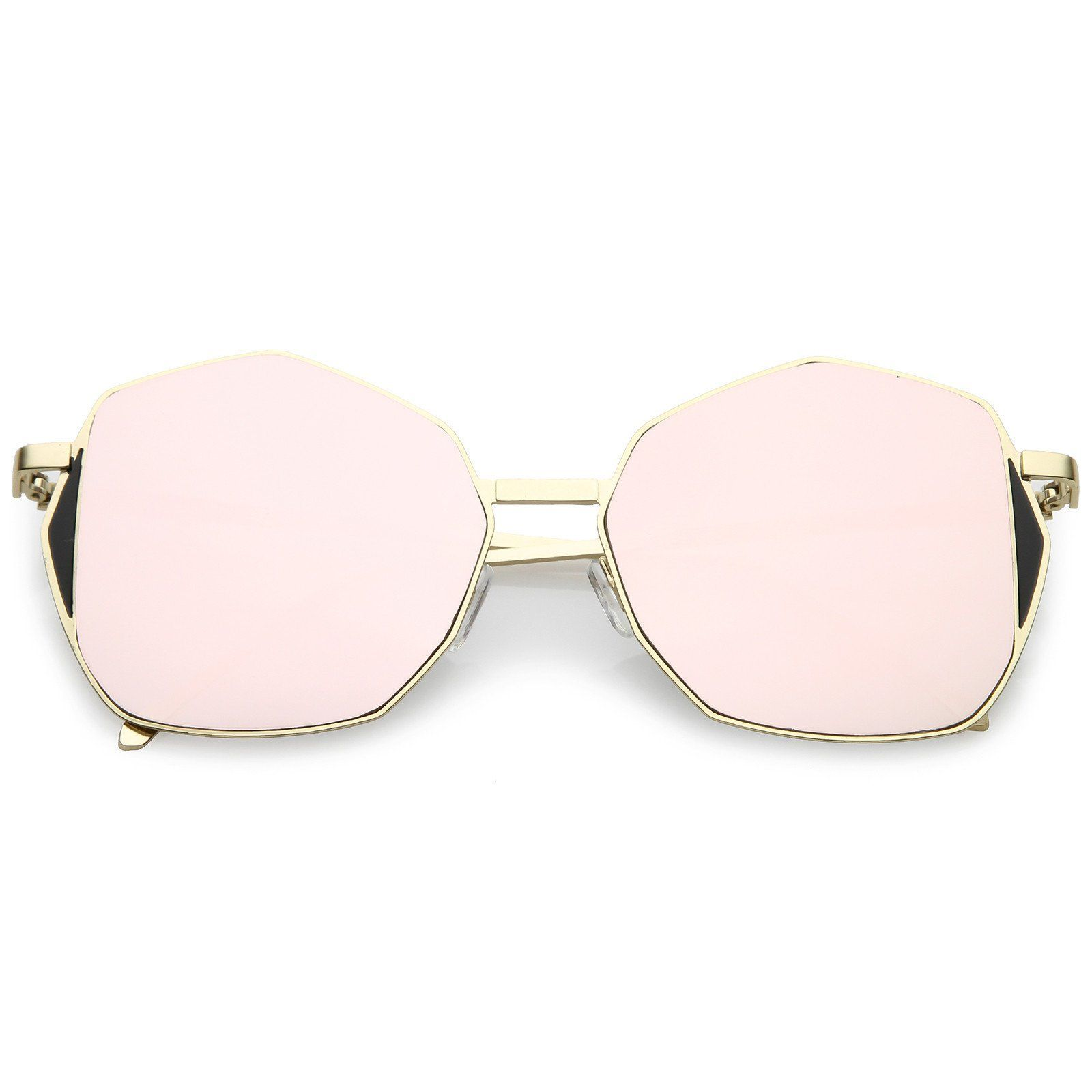 84070924f6 Oversize Geometric Sunglasses Slim Metal Arms Colored Mirror Flat Lens 59mm   mirrored  sunglasses