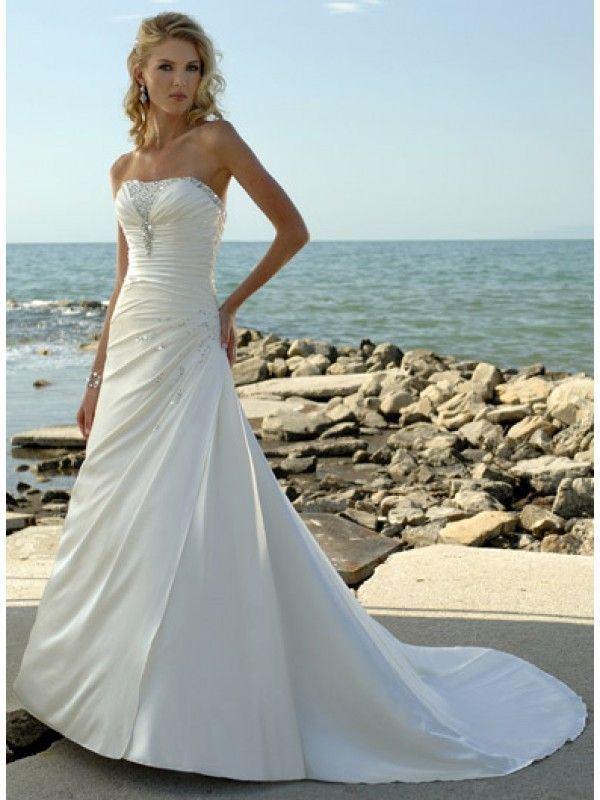 White Strapless Beading Asymmetrically Draped A-line Beach Wedding ...