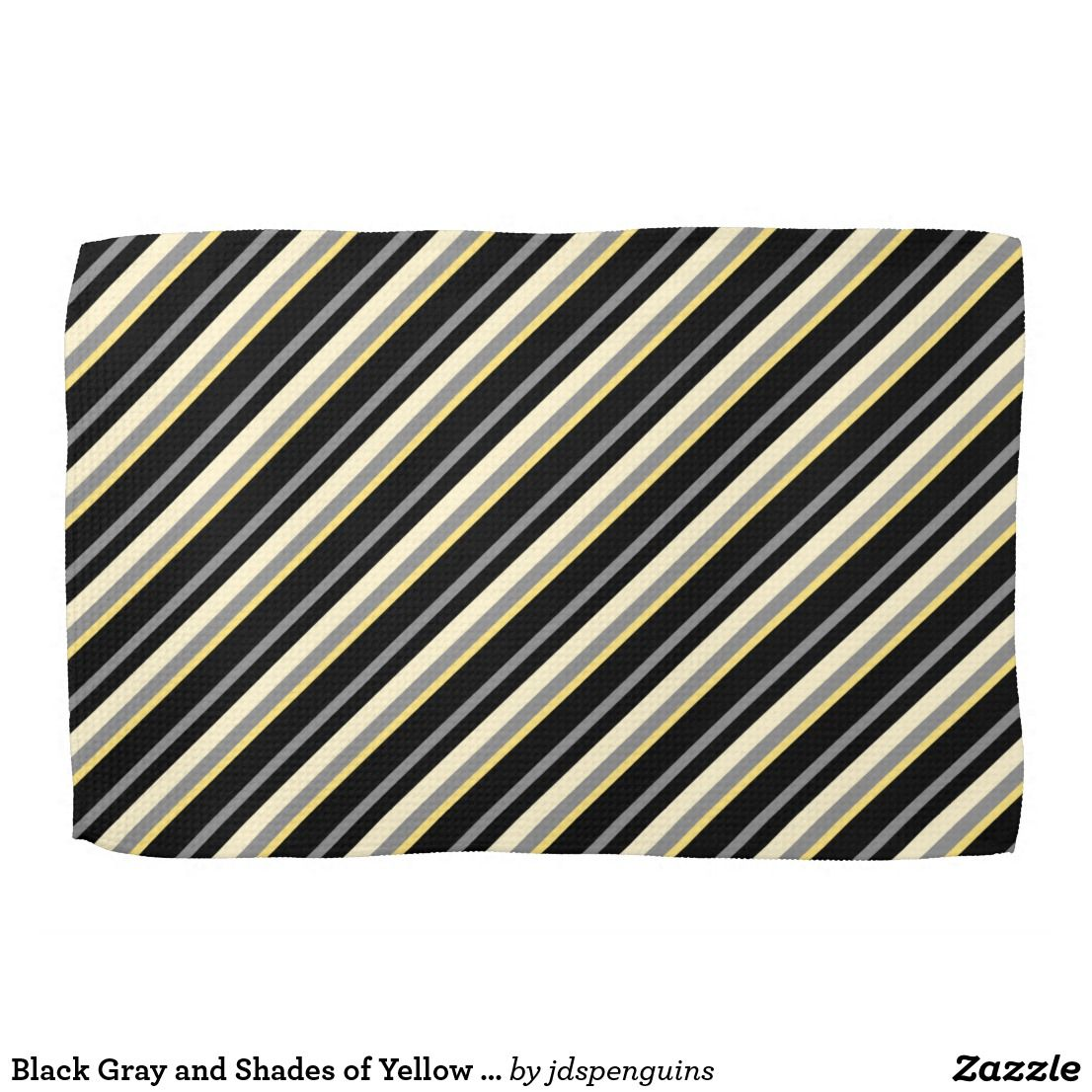 Black Gray And Shades Of Yellow Stripes Kitchen Towel Zazzle Com