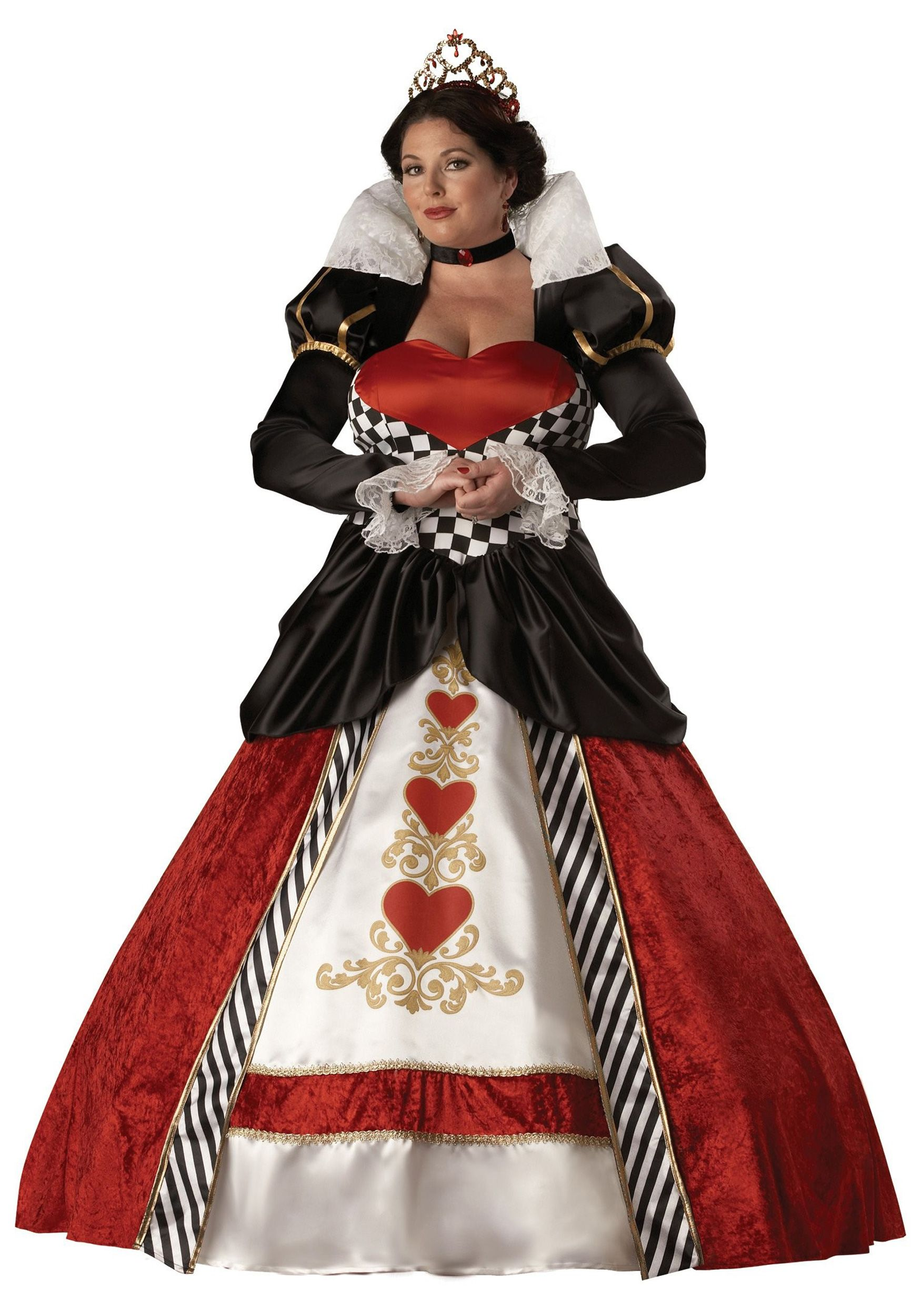 Royal Red Queen Of Hearts Fairytale Storybook Womens Ladies Fancy Dress Costume