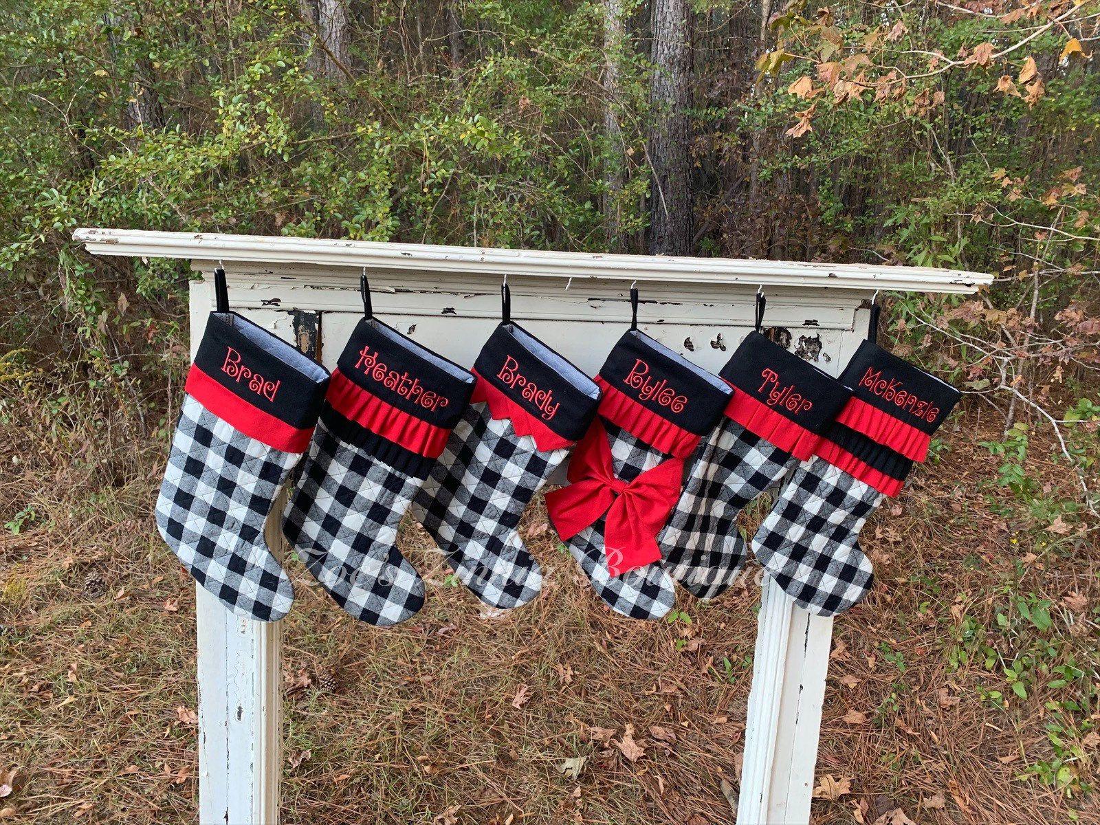 Personalized Christmas Stocking, Buffalo check Stocking