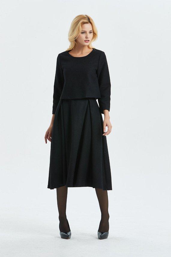 Black Wool Skirt Maxi Skirt Winter Custom Skirt Midi Skirt Woman