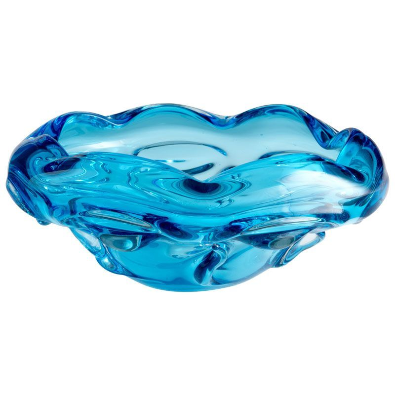 Large Glass Decorative Bowls Cyan Design Large Water Pod Bowl Water Pod 11 Inch Diameter Glass