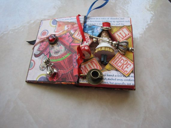 Alice in Wonderland Miniature Altered Book by Ensemblages on Etsy, $19.00
