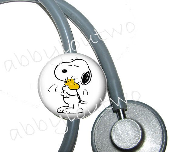 Stethoscope ID Tag  Snoopy and Woodstock by abbyloutwo on Etsy, $7.99