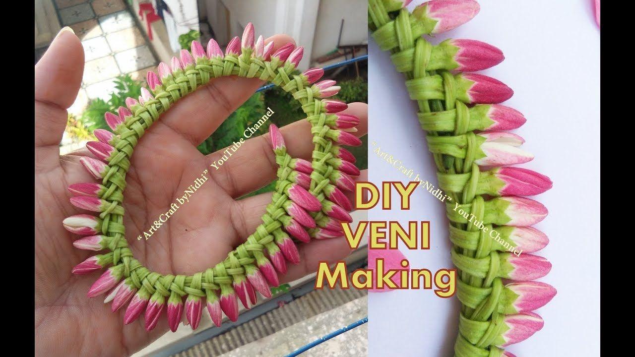 Diy garland veni using fresh flower buds how to make veni gajara