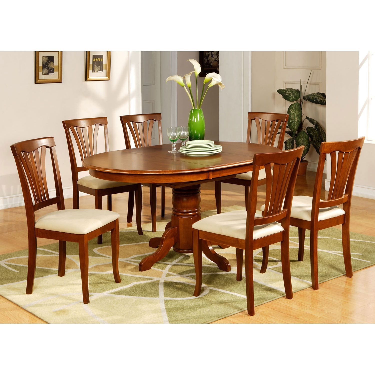 5 Piece Oval Dinette Table With Leaf And 4 Dining Chairs