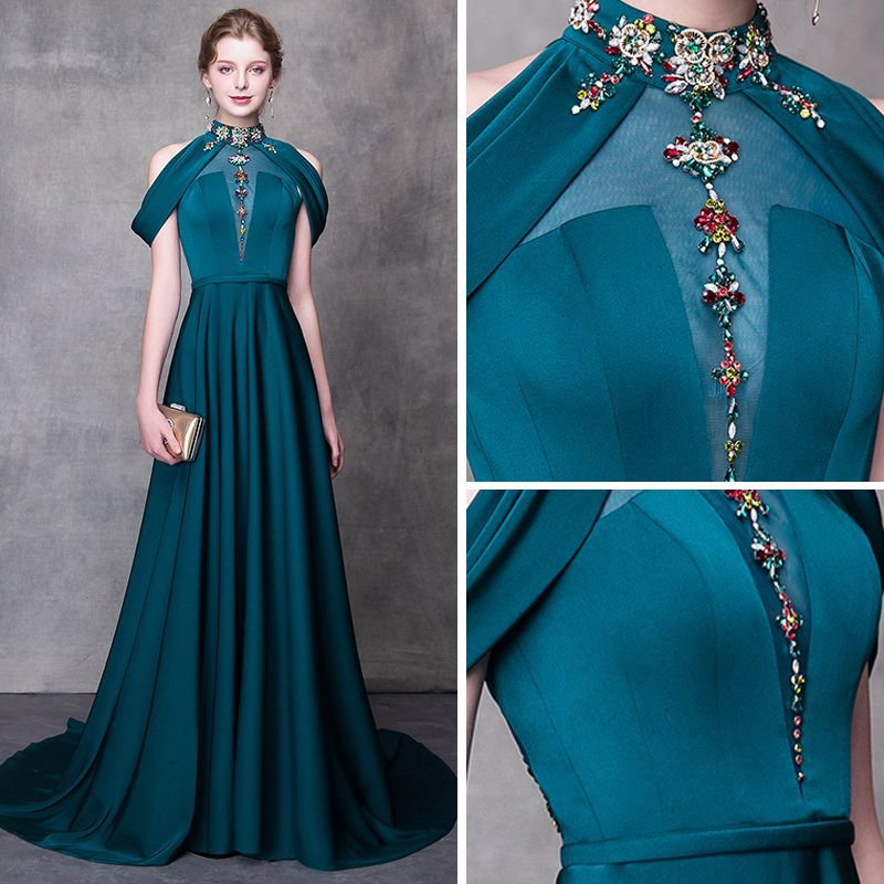 Photo of Modern / Fashion Ink Blue Evening Dresses  2018 A-Line / Princess High Neck Strapless Sleeveless Beading Rhinestone Sash Court Train Ruffle Backless