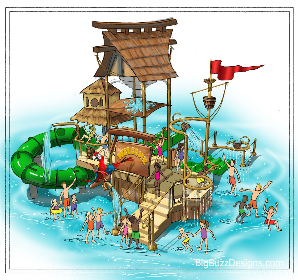 1263x1190 Concept Drawings   Water park, Parking design ...