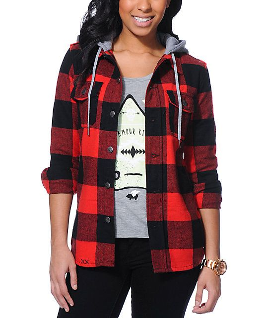 Red and black flannel hooded jacket