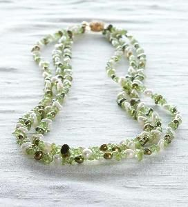 Triple Strand Freshwater Pearl and Peridot Necklace, from the Winterthur museum store