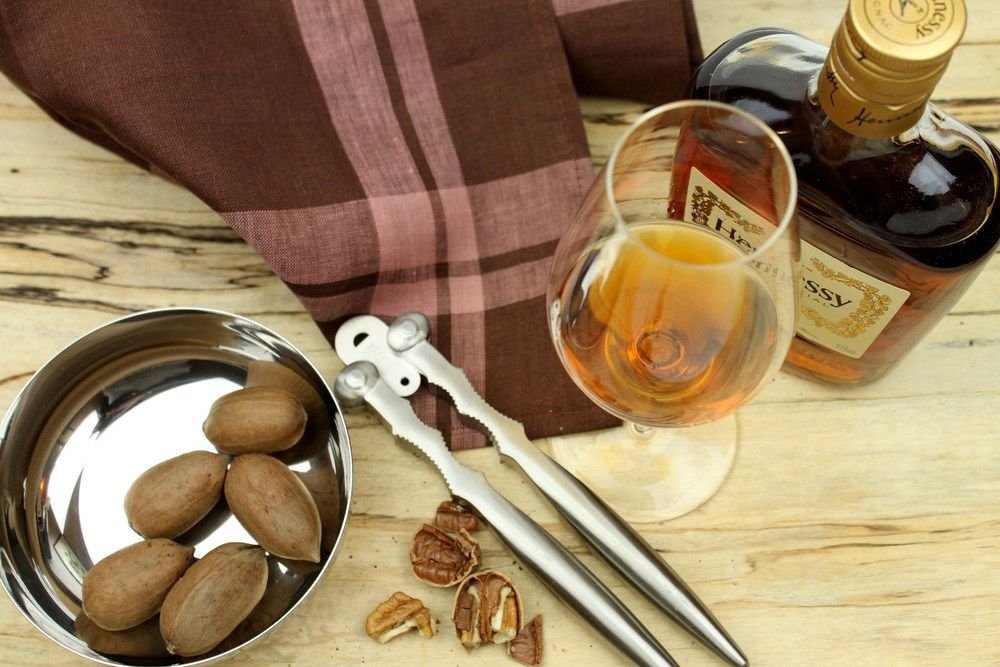 Alessi nut cracker, Schott Zwiesel Enoteca Cognac glass, Libeco Home Hudson tea towel, Spencer Peterman spalted board