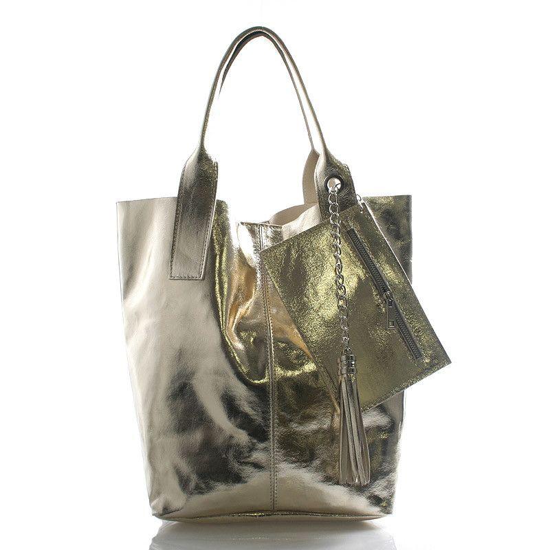 kabelka  novinka Zlatá velká kožená kabelka ItalY styl shopper. Prostorná  nekonvenční kabelka přes 8a617573c0f