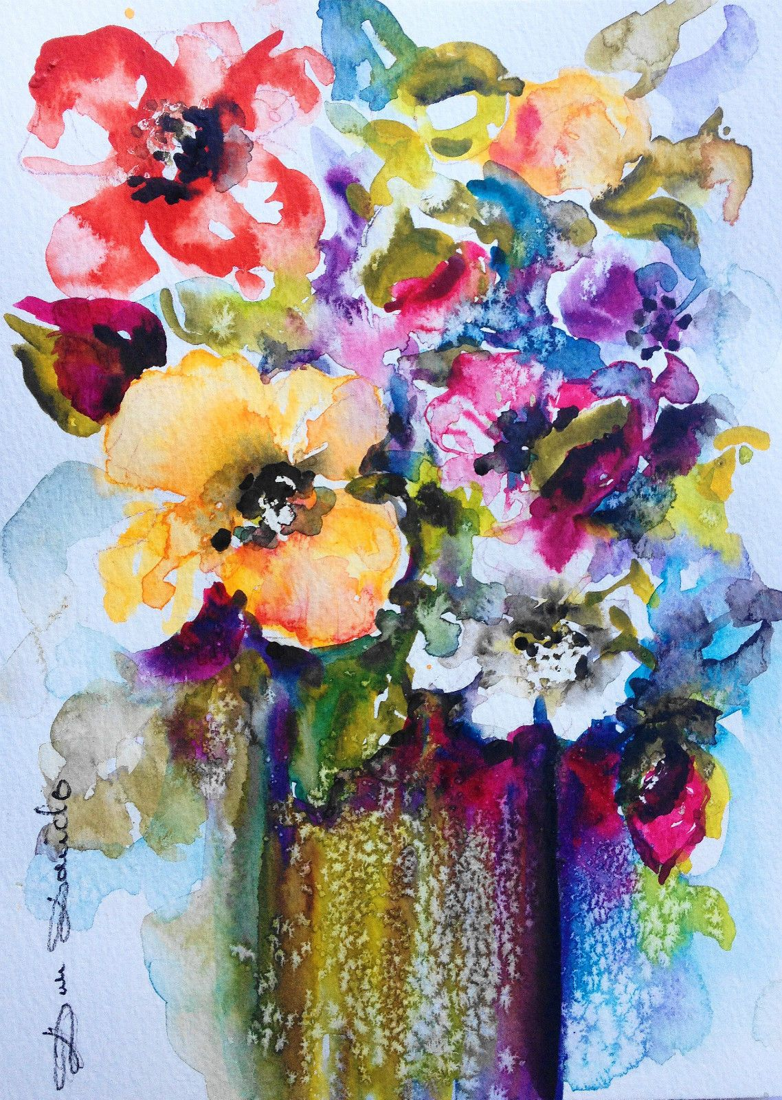 aquarelle originale fleur roses sauvages cynorrhodons. Black Bedroom Furniture Sets. Home Design Ideas