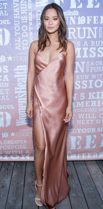 c27d5217622bbc dress gown prom dress slit dress slit maxi skirt jamie chung blogger nude  satin…