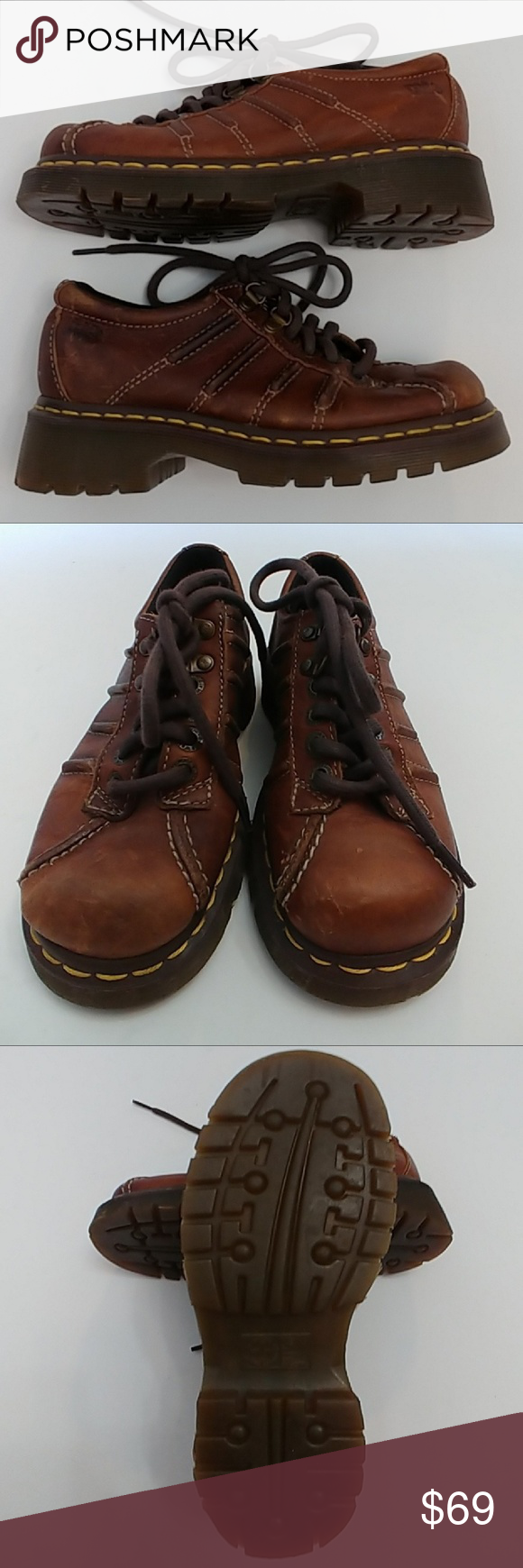 Dr. Martens Brown Grizzly Shoes UK 3 Docs EUC (With images