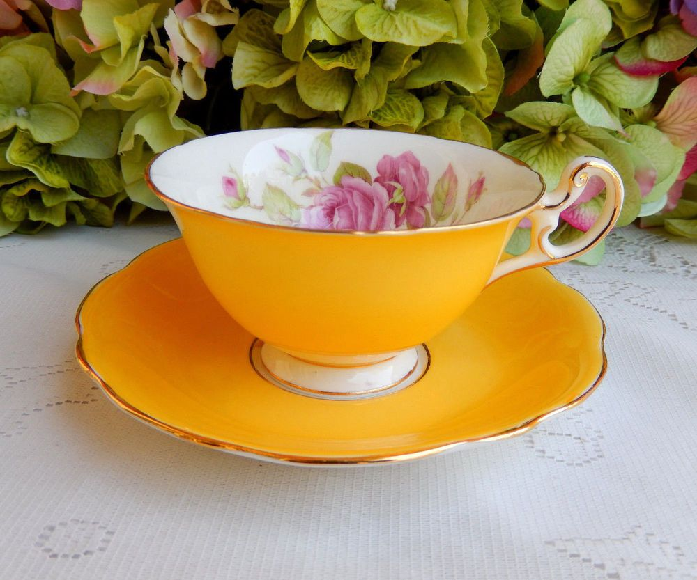 Vintage Foley Bone China ~ Porcelain Cup & Saucer ~ Roses ~ Yellow ~ Gold #Foley