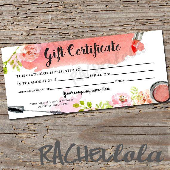 Custom, Watercolor makeup, Gift Certificate, printable gift - printable gift certificate