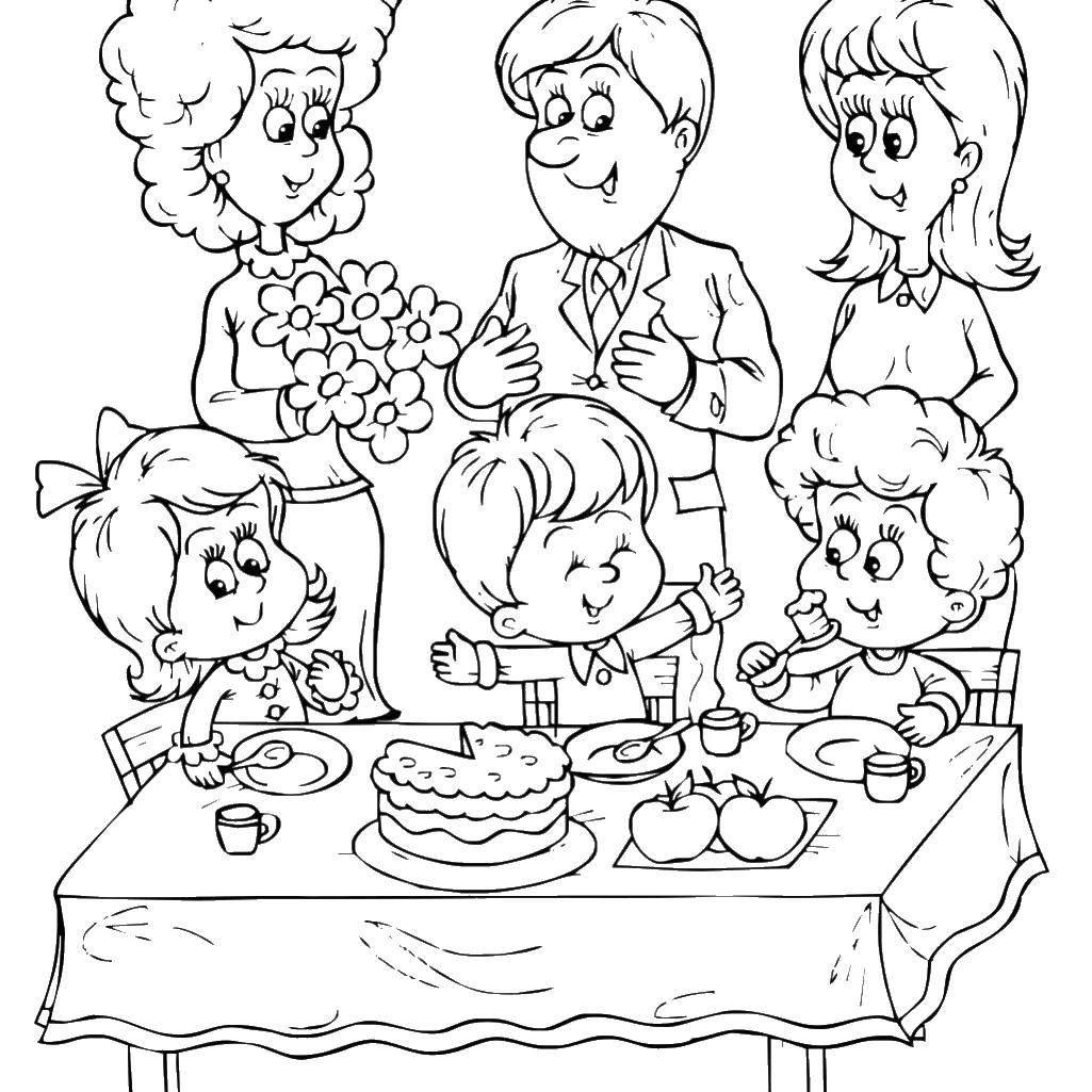 Название: Раскраска Семейный праздник. Категория ...