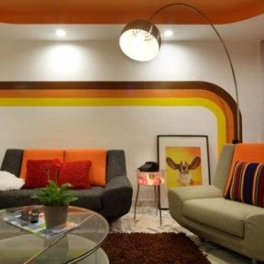 Wild Retro Living Room Wall Design And 70 S Furniture From