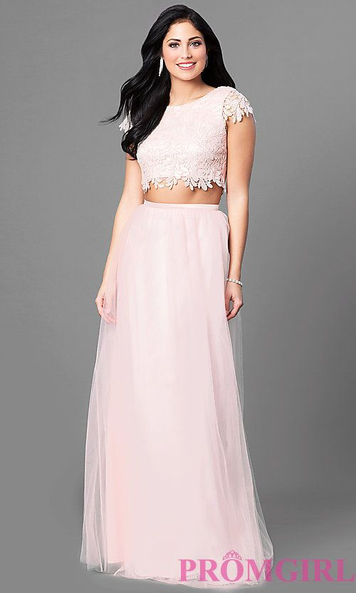 a24b0160591e Long Two-Piece Prom Dress with Short Sleeve Lace Bodice   prom ...