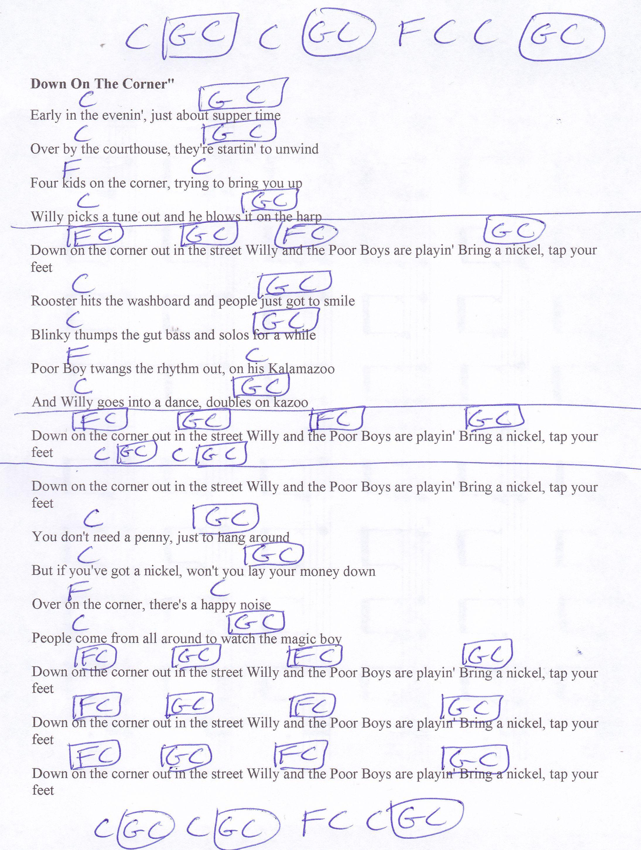 Down On The Corner Ccr Guitar Chord Chart Guitar Lesson Chord