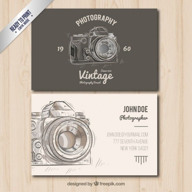 O fotgrafo carto de visita no estilo do vintage business cards photographer business card in vintage style free vector reheart Image collections