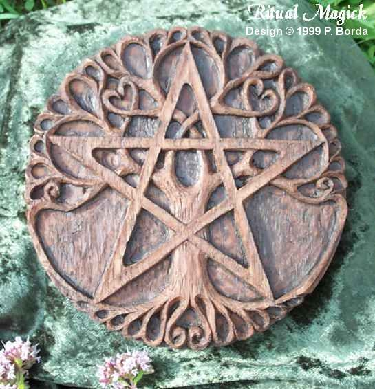 """The Pentacle was known as the Seal of Solomon. It is a symbol of Earth and Prosperity as seen in the tarot. The pentacle in its upright position represents the Spirit in balance and harmony with the four elements. The tree represents the cosmic world tree known throughout many cultures & spiritual paths. Around the edge it reads, """"Seed, root, stem, bud, flower, leaf, fruit,"""" representing the endless cycle of rebirth"""