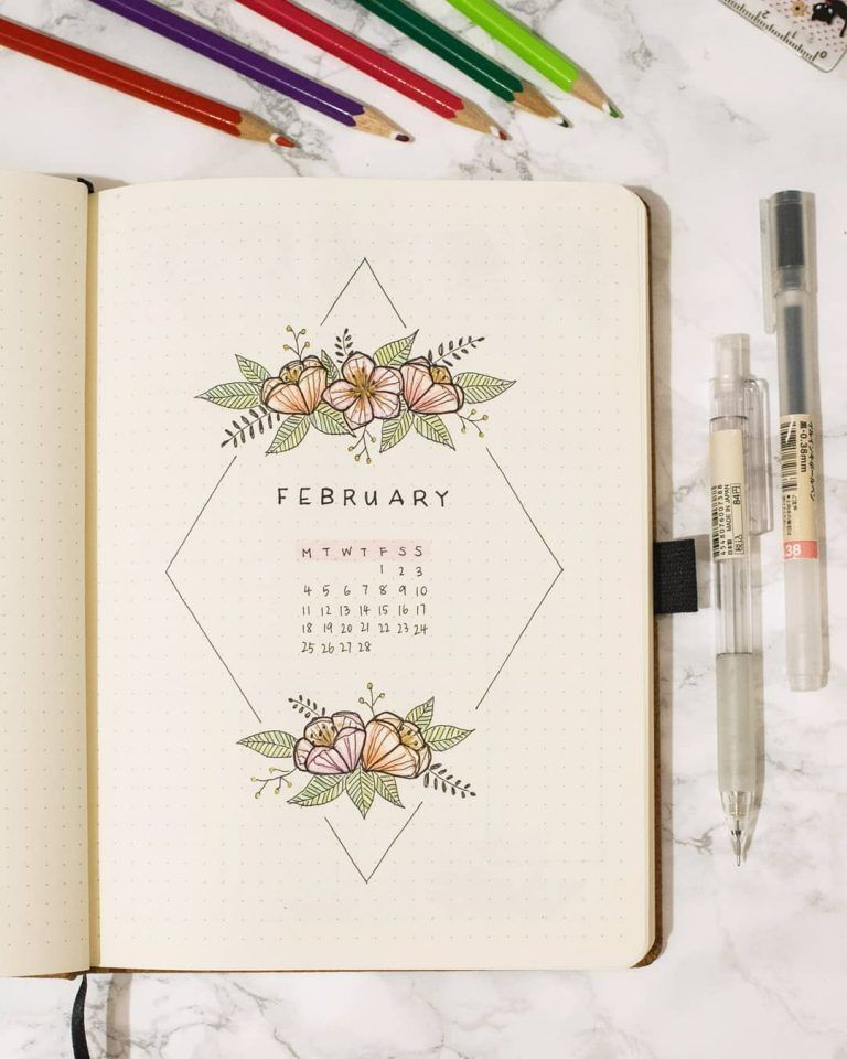 43 Bullet Journal Monthly Cover Page Ideas That'll Leave You Inspired #bulletjournal