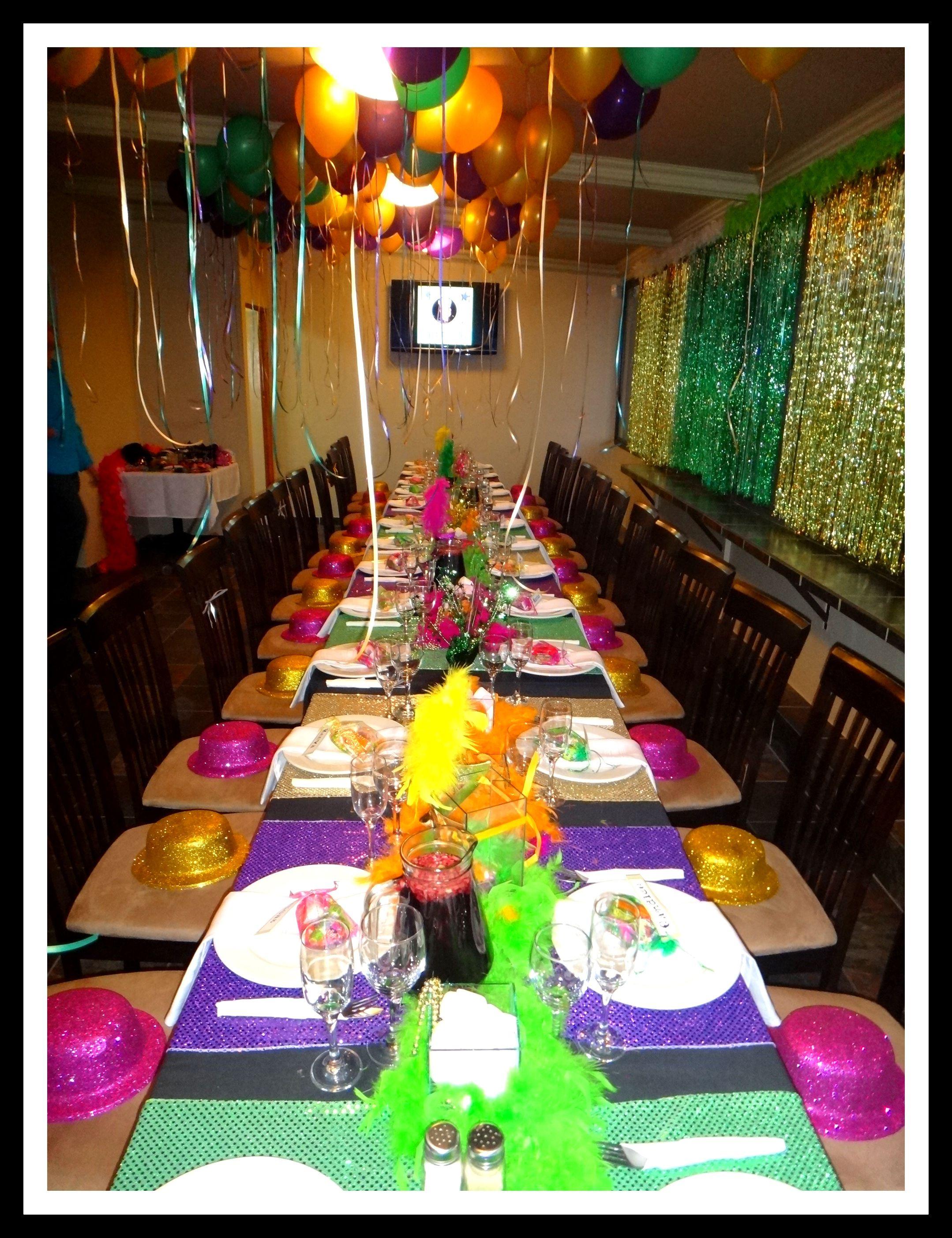 30th Birthday Party Mardi Gras Theme Tables