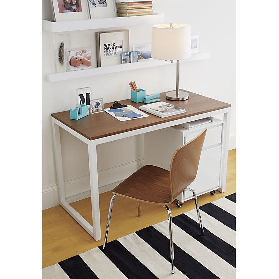 Finn Walnut Top Desk With Salt Base Crate And Barrel 47 X 24