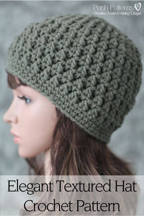 Crochet Pattern - This gorgeous textured crochet hat pattern is super simple to crochet and makes a perfect accessory for the cooler months. Includes 7 sizes. By Posh Patterns.