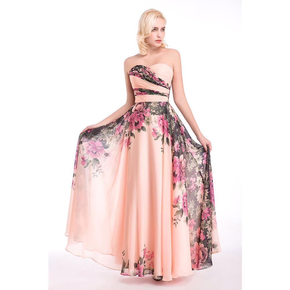 ACI Fashion Evening Dresses Bridal Marrige Banquet Chiffon Printing ...